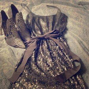 EXPRESS Tan/Gold Sequined Mini Dress